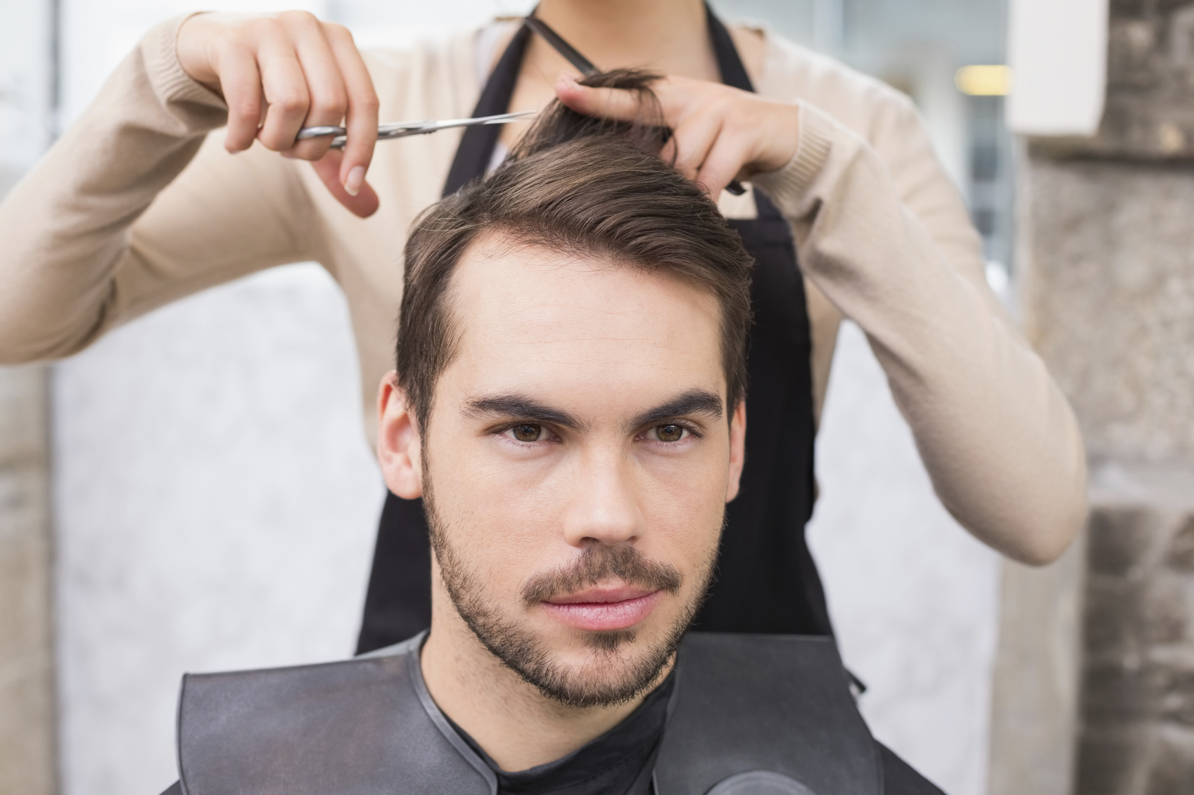 Man getting his hair trimmed