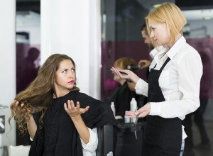 Quarrels with the female client about haircut
