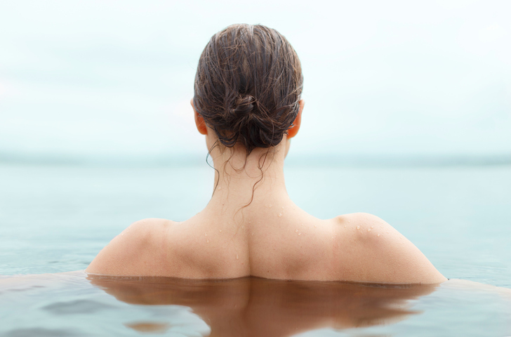 woman with wet updo