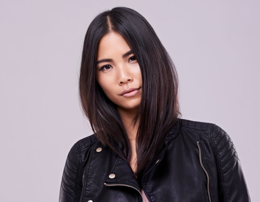 asian woman black hair bob lob haircut oval face shape hairstyles face shape toppik blog