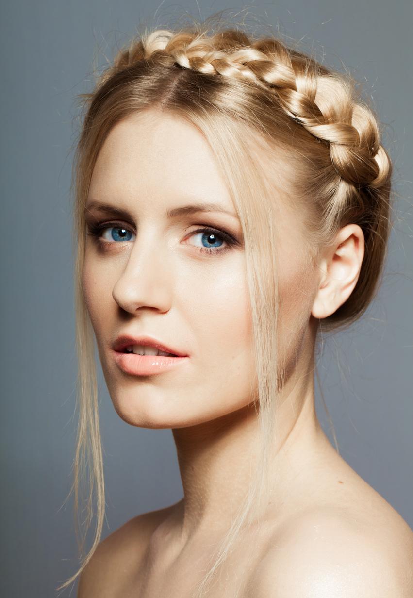 milk maid crown braid hairstyle side view blonde hair woman favorite holiday hairstyles toppik hair blog