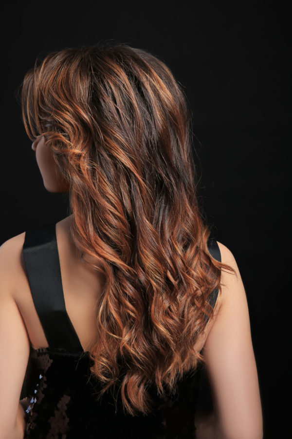Chocolate Caramel Highlights Long Curly Hair Back Choosing Hair