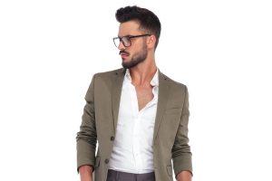 Man Side Handsome Glasses Push Forward Hairstyle Choosing