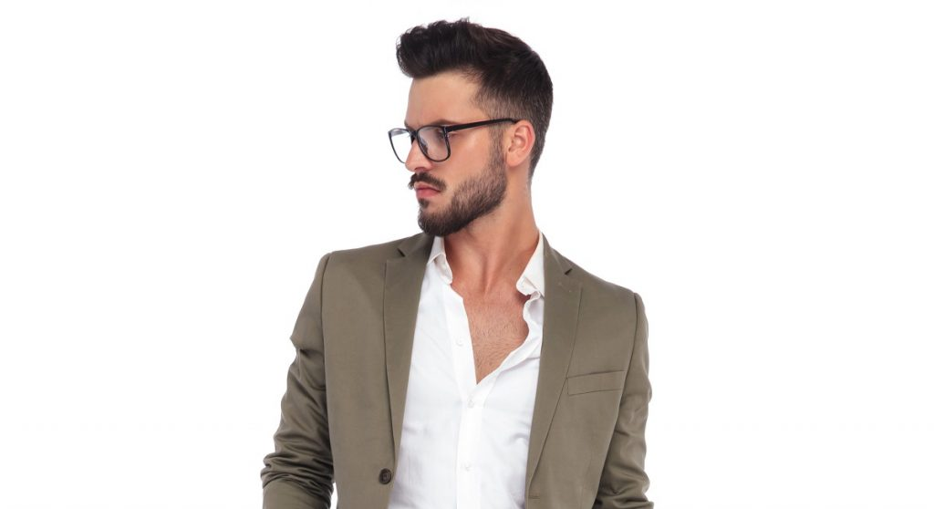 man side white background glasses push forward hairstyle choosing maintaining widows peak man toppik hair blog