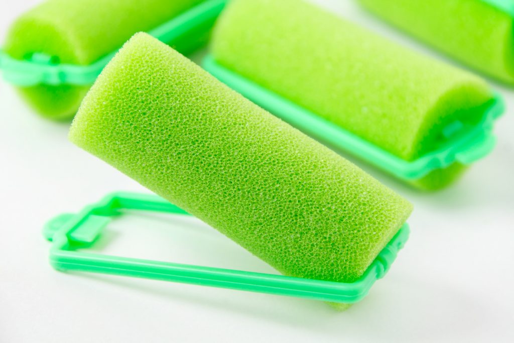 Green foam sponge hair curlers closeup getting perfect overnight curls toppik hair blog