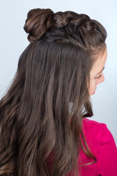hairstyle bun braid long brown hair woman our favorite bun hairstyles toppik hair blog