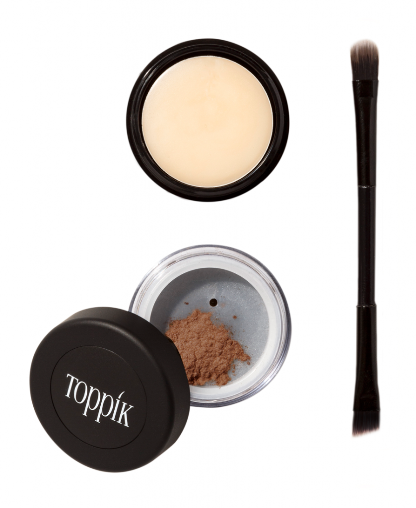 Toppik Brow Building Fibers Set product image white background 3 pieces Fibers pot wax dual end brush Tips for Styling Perfect Brows toppik hair blog