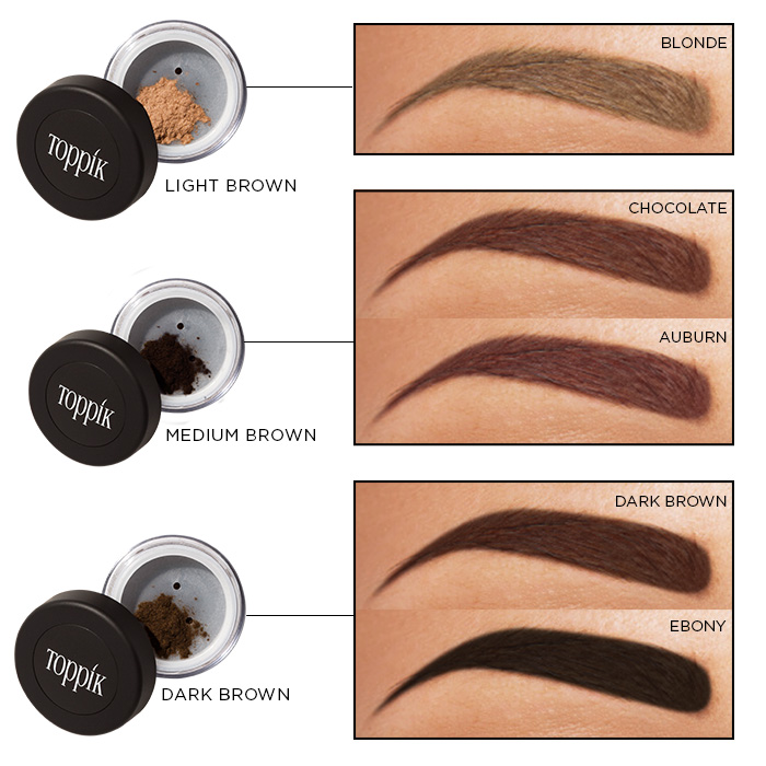 toppik brow building fiber colors matching different brow colors Tips for Styling Perfect Brows toppik hair blog