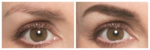 eyebrows before after toppik brow building fibers results side by side closeup eyes