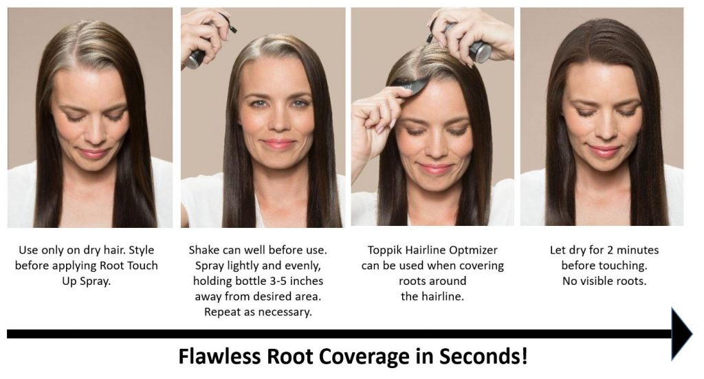 Woman with gray roots applying Toppik root touch up spray to roots in 4 images the best root touch up spray toppik hair blog