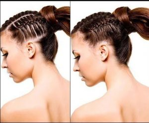 hair in french braid with and without Toppik hair building fibers Toppik blog