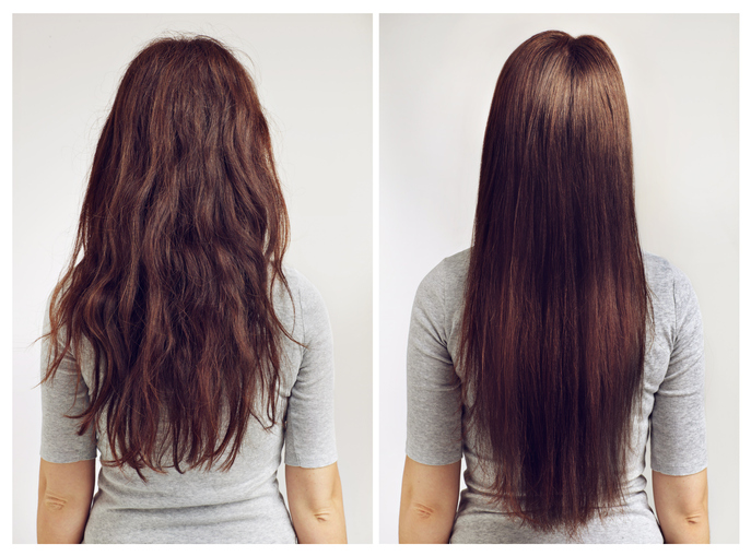 Hair rebonding before and after image