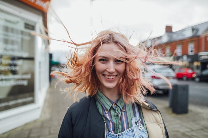 Fall hair colors 2020: pastel peach
