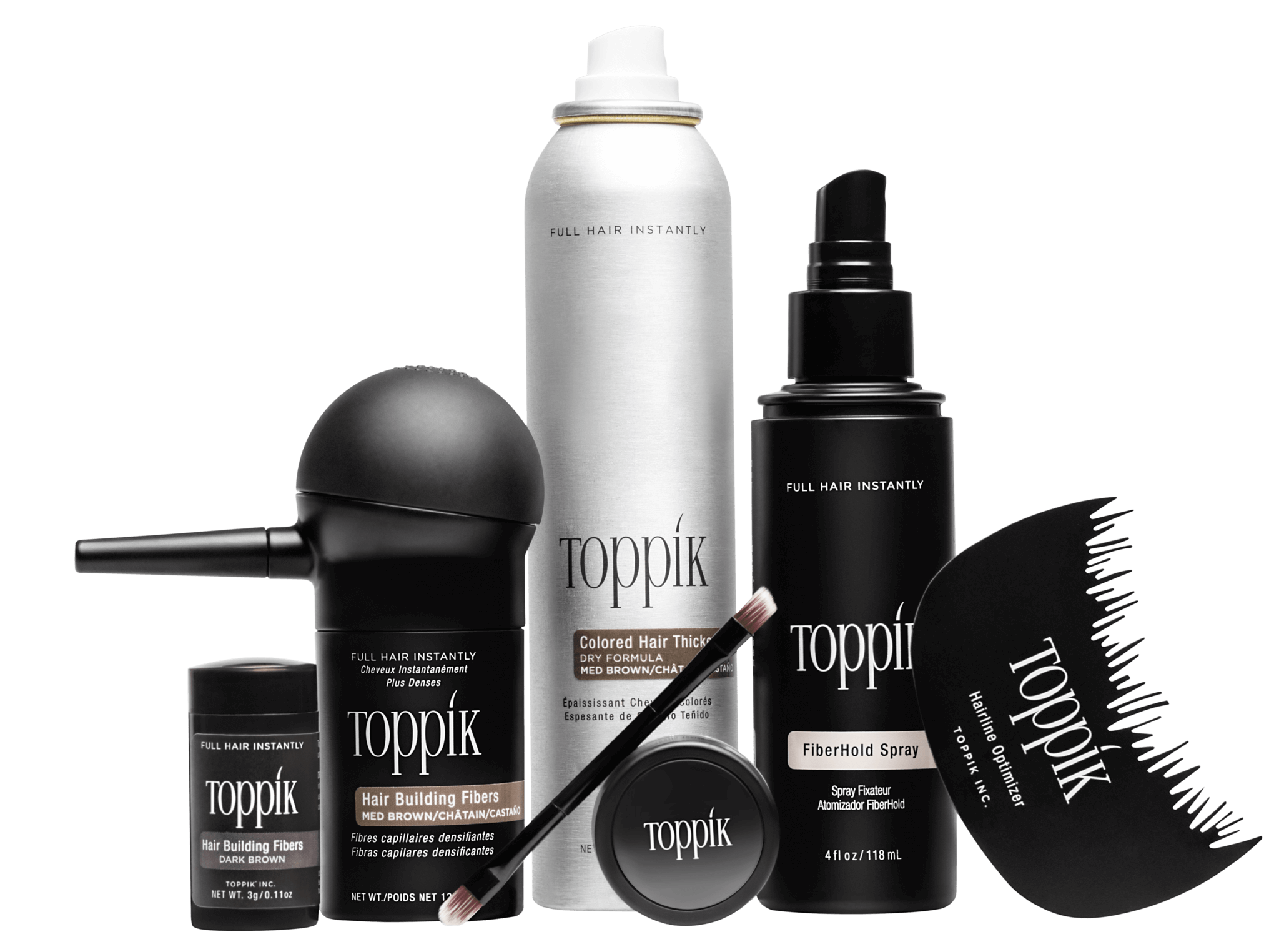 full collection of toppik hair thinning products
