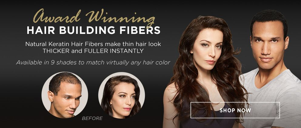Award winning hair building fibers make thin hair look thicker fuller instantly shop now in 9 shades to match any hair color