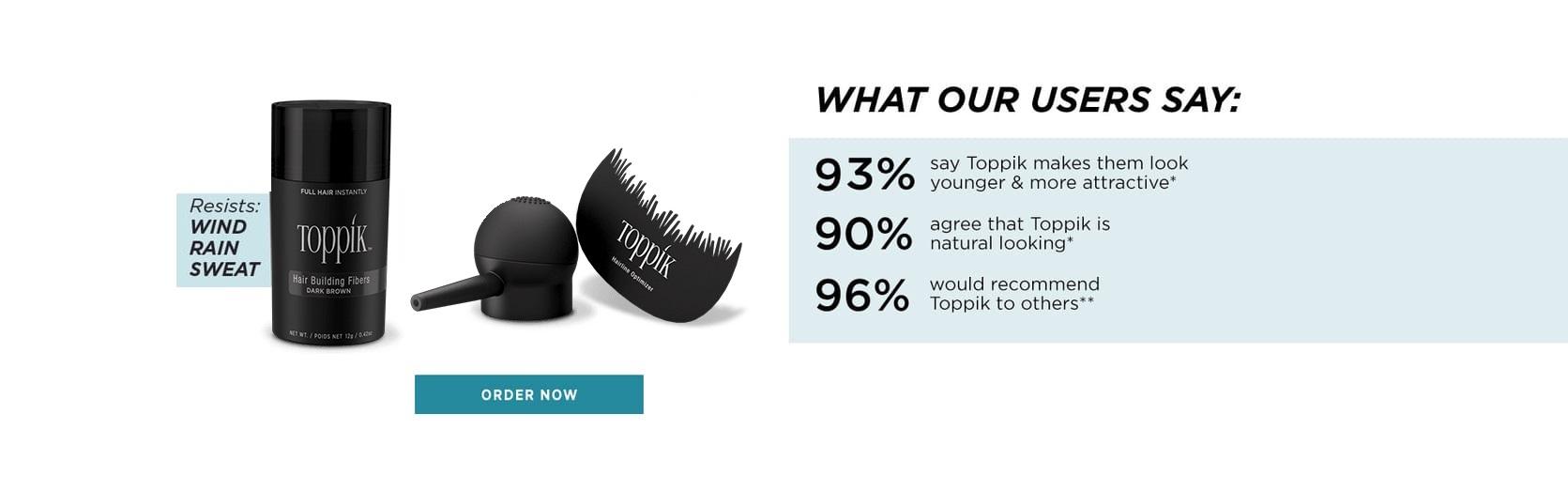 Toppik hair volume products Hair Building Fibers resists wind rain sweat - plus tools Spray Applicator and Hairline Optimizer