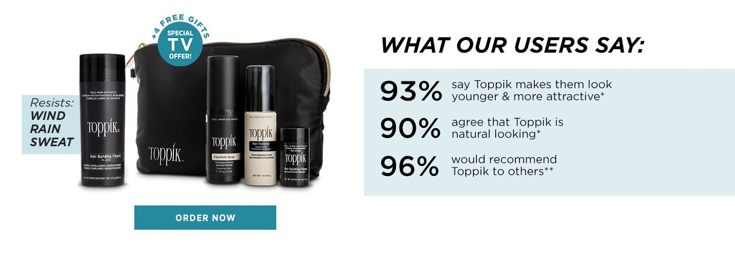 Toppik hair volume products Hair Building Fibers resists wind rain sweat - plus tools Spray Applicator and Hairline Optimizer